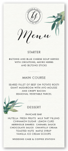 Stephan and Louise's menu for their wedding